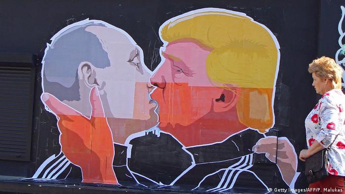 Litauen Graffiti von Putin und Trump
