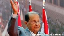 epa05611131 (FILE) A file photo dated 11 October 2015 shows Lebanese founder of the Free Patriotic Movement, General Michel Aoun, greeting supporters during a demonstration on the street leading to the Presidential Palace, east of Beirut, Lebanon. Michel Aoun was on 31 October 2016 elected by members of the Parliament as new Lebanese President, ending a 29-month-long vacuum in the presidency. EPA/NABIL MOUNZER +++(c) dpa - Bildfunk+++