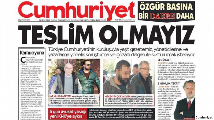 Türkei Titelseite Cumhuriyet Ausgabe 01.11.2016