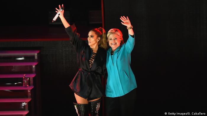 Jennifer Lopez and Hillary Clinton (Getty Images/G. Caballero)
