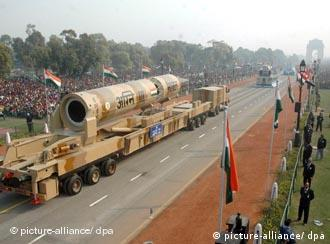 India's Agni III rocket during a parade in Delhi