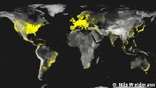 World map of internet penetration