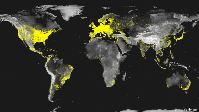 World map of internet penetration