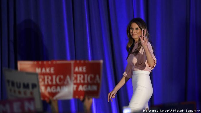 USA Melania Trump hält eine Rede (picture-alliance/AP Photo/P. Semansky)