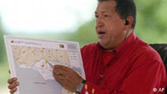 Hugo Chávez kündigt Seemanöver mit Russland an (07.09.08, AP)
