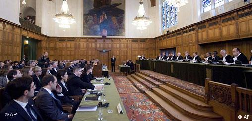 Overview of the court at the International Court of Justice in The Hague, Netherlands,