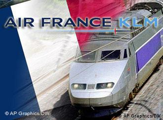TGV high-spee train with the French Flag in the background and the Air France-KLM logo.