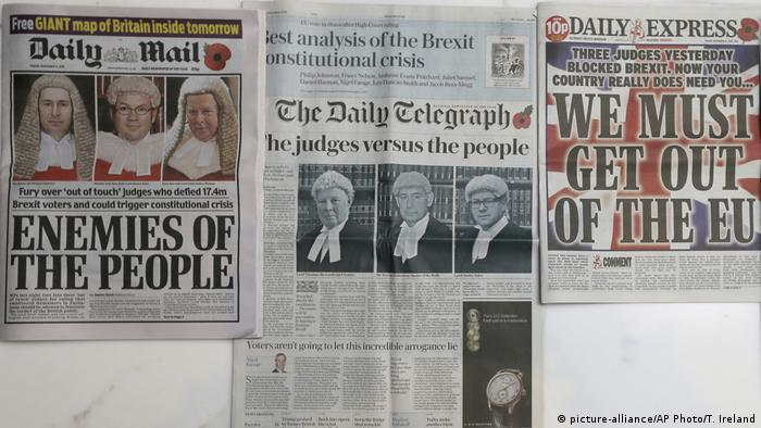 Großbritanien Brexit Schlagzeilen nach Urteil des Oberen Gerichts