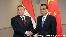 RIGA, Nov. 5, 2016 (Xinhua) -- Chinese Premier Li Keqiang (R) meets with Hungarian Prime Minister Viktor Orban in Riga, capital of Latvia, Nov. 5, 2016. (Xinhua/Liu Weibin) (wx |