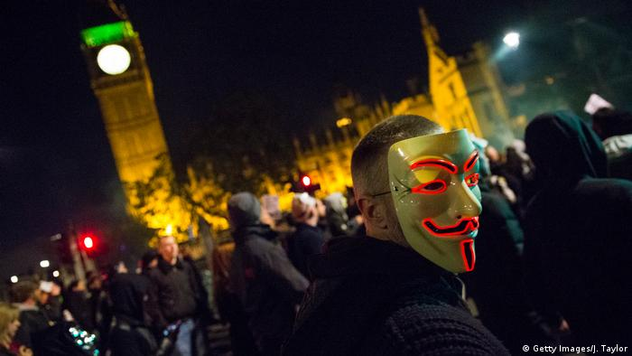 London Million Mask March On Bonfire Night (Getty Images/J. Taylor)