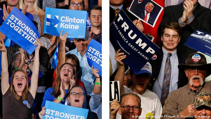 USA Wahlkampf um Präsidentschaft Kombi Anhänger Clinton / Trump (picture-alliance/AP Photo/R. D. Franklin/ G. Herbert)
