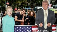 USA Clinton und Trump Aufsteller