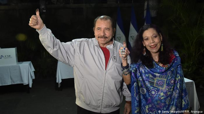 Niacaraguan president votes with his wife Rosario Murillo in the controversial elections of 2016 (Getty Images/AFP/R. Arangua)