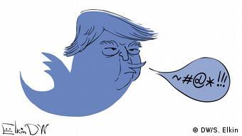 Будущий президент США Дональд Трамп в виде птички - символа сети Twitter, карикатура Сергея Ёлкина