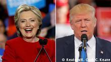 Bildkombo Hillary Clinton und Donald Trump