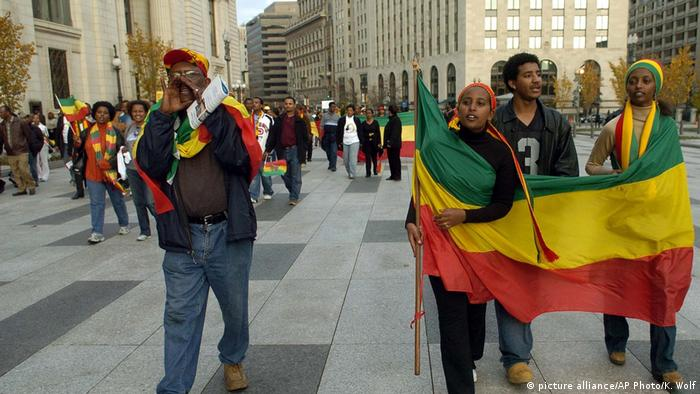 Ethiopian diaspora protests in the US (picture alliance/AP Photo/K. Wolf)