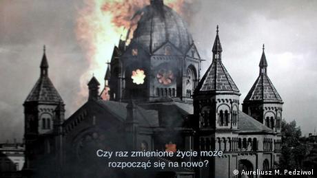 Burning synagogue in Breslau