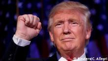 09.11.2016 *** Republican U.S. presidential nominee Donald Trump speaks at his election night rally in Manhattan, New York, U.S., November 9, 2016. REUTERS/Carlo Allegri