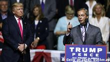 24.08.2016 *** JACKSON, MS - AUGUST 24: Republican Presidential nominee Donald Trump, left, listens to United Kingdom Independence Party leader Nigel Farage speak during a campaign rally at the Mississippi Coliseum on August 24, 2016 in Jackson, Mississippi. Thousands attended to listen to Trump's address in the traditionally conservative state of Mississippi. (Photo by Jonathan Bachman/Getty Images)