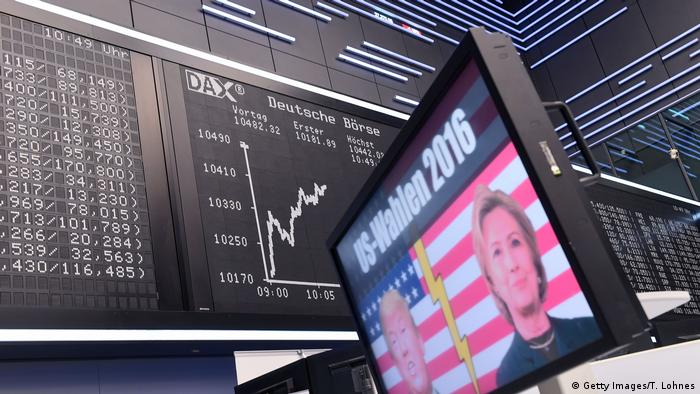 A TV screen at the Frankfurt Stock Exchange showing the US election outcome (Getty Images/T. Lohnes)