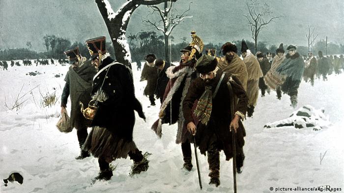 Остатки Великой армии Наполеона покидают Россию. Рисунок Карла Рёхлинга (1855-1920)
