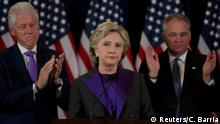 09.11.2016**** Hillary Clinton, accompanied by her husband former U.S. President Bill Clinton (L) and running mate Senator Tim Kaine, addresses her staff and supporters about the results of the U.S. election at a hotel in New York, November 9, 2016. REUTERS/Carlos Barria TPX IMAGES OF THE DAY
