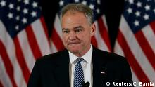 09.11.2016**** U.S. Senator Tim Kaine introduces Hillary Clinton before she addressed her staff and supporters about the results of the U.S. election at a hotel in New York, November 9, 2016. REUTERS/Carlos Barria