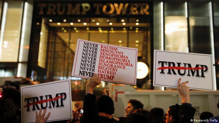 USA Präsidentschaftswahl Protest gegen Donald Trump in New York (Reuters/A. Kelly)