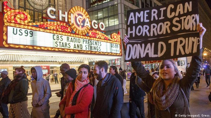 USA Präsidentschaftswahl Protest gegen Donald Trump in Chicago (Getty Images/J. Gress)