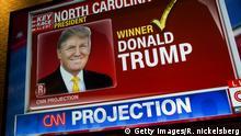 USA New York City Wahlnacht Trump auf CNN Bildschirm