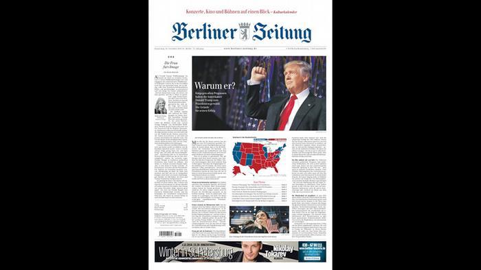 Screenshot Titelblatt Berliner Zeitung