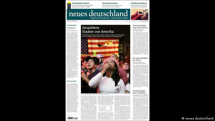 Screenshot Titelblatt neues deutschland (neues deutschland)