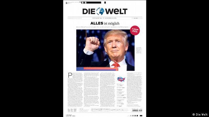 Este fue el titular de portada del periódico Die Welt.