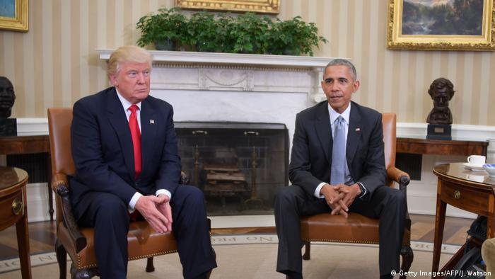 USA Washington Treffen Obama und Amtsnachfolger Trump (Getty Images/AFP/J. Watson)