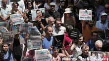 21.06.2016 *** Protesters demonstrate against the jailing of two journalists and an academic, outside the offices of Ozgur Gundem, a pro-Kurdish publication, in Istanbul, Tuesday, June 21, 2016. Reporters Without Borders' local representative Erol Onderoglu, along with journalist Ahmet Nesin and academic Sebnem Korur Fincanci, who had participated in a solidarity campaign in support of the paper, already subject to multiple investigations and lawsuits, were placed in pretrial arrest by a Turkish court Monday over charges of disseminating terrorist propaganda. (AP Photo/Lefteris Pitarakis) |