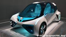 Japan's automaker Toyota Motor displays the Toyota FCV Plus during a press preview at the Tokyo Motor Show on October 28, 2015. The Tokyo Motor Show kicks off October 28 with a focus on cars that drive themselves, eco-friendly technologies, and a digital-savvy generation. AFP PHOTO / KAZUHIRO NOGI (Photo credit should read KAZUHIRO NOGI/AFP/Getty Images)