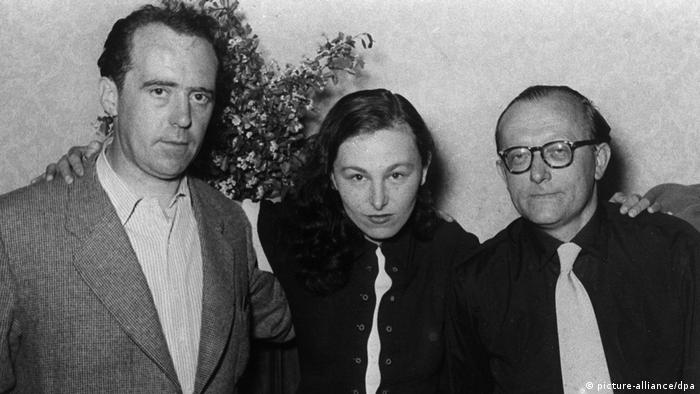 Ilse Aichinger with Heinrich Böll (l) and Günter Eich at a Gruppe 47 meeting in 1952