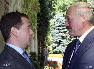 Belarusian President Alexander Lukashenko and his Russian counterpart Dmitry Medvedev
