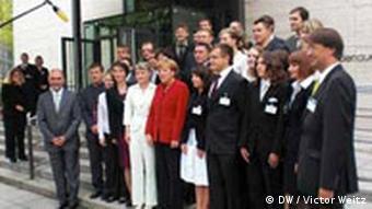 Канцлер ФРГ Ангела Меркель на встрече с молодыми переселенцами в Берлине