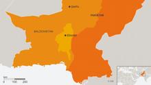 Karte Pakistan Khuzdar Englisch