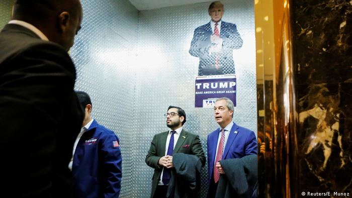 New York UKIP Führer Nigel Farage im Trump Tower (Reuters/E. Munoz)