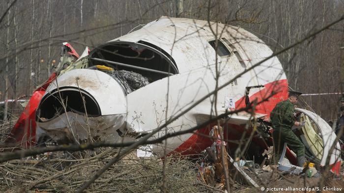Destroyed airplane after crash