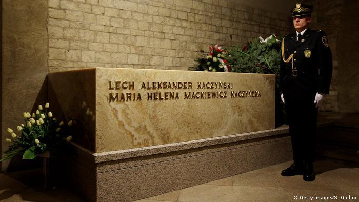 Sarcophagus of Lech Kaczynski and his wife Maria in Krakau