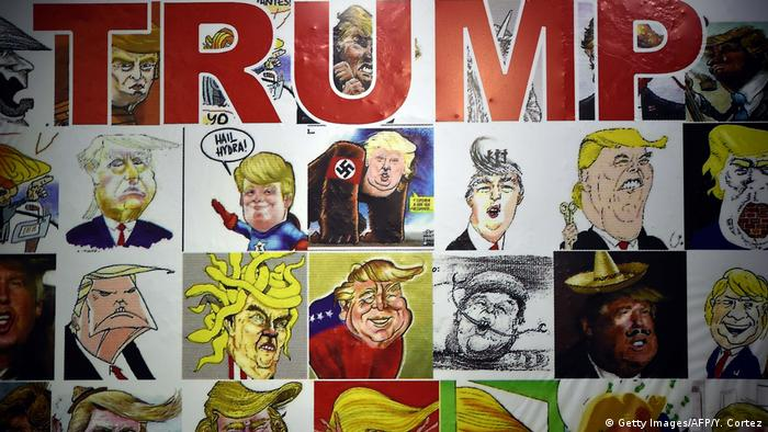 Donald Trump caricatures (Getty Images/AFP/Y. Cortez)