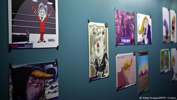Exhibition 'Trump: A Wall of Caricatures' in Mexico City (Getty Images/AFP/Y. Cortez)