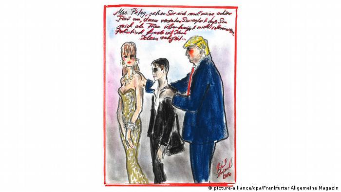 Deutschland Karikatur von Donald Trump in der FAZ