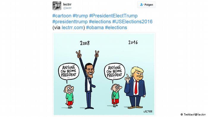 Художник Lectrr родом з Бельгії - батьківщини коміксів - намалював чимало різноманітних карикатур про Трампа. Ця, наприклад, показує, як за вісім років ідея того, що Будь-хто може стати президентом, змінилася з причини для радості на привід для розпачу.