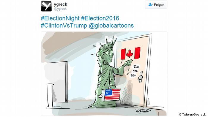 Перелякана Статуя Свободи стукає в двері сусідньої Канади. Канадський карикатурист Ygreck зобразив цей символ Америки на багатьох малюнках. Більше карикатур можна побачити на його акаунті у Twitter.