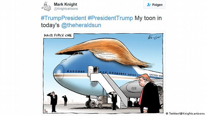 Зачіска майбутнього президента США вже спровокувала чимало жартів. Кілька місяців тому мережу сколихнули світлини і відео з ферми з вирощування перук для Трампа у Норвегії. Насправді ж, це була звичайна трава. Зачіска Трампа непогано личить і Борту номер один, як це собі уявляє карикатурист Марк Найт. Якщо добряче попрацювати над підписом, малюнок може стати справжнім хітом.