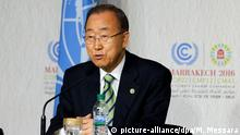 15.11.2016 **** epa05632002 United Nations Secretary-General Ban Ki-moon speaks during a press conference with Executive Secretary of the UN Framework Convention on Climate Change Patricia Espinosa (not pictured) at the World Climate Change Conference 2016 (COP22) in Marrakech, Morocco, 15 November 2016. The UN Climate Change Conference COP22 will be held between 07 and 18 November in Marrakech. EPA/MOHAMED MESSARA +++(c) dpa - Bildfunk+++